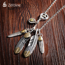 925 Silver Feather Necklace Mens Fashion Retro Indian Kaohashi Goro Personality Inspired Sweater Chain Women