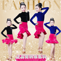 Children Latin dance skirt costume girls practice fall winter clothing new childrens Latin dance dress Latin dance clothes