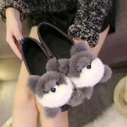 2017 new flats in the spring and autumn shoes all-match Doug shoes shoes adorable Bear Plush pointed gourd lazy shoes
