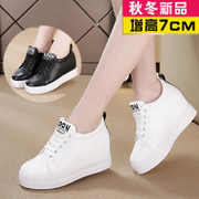 Increased female shoes small white shoes female 2017 new autumn and winter loose shoes Korean plus cashmere sports shoes wild