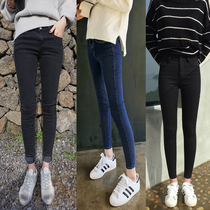 Winter nine black high waist jeans women smoked slim tight warm feet pencil pants and cashmere thick