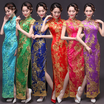 Cheongsam new 2017 size toast clothing dress long sequined lace cheongsam show night welcoming stage show