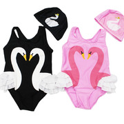 PAINPA's custom ins explosion models children swimsuit girl lovely Swan summer swimwear