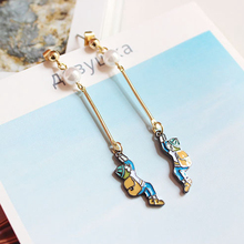 The jewelry trade Japanese creative climbing backpack Boy Color drop glaze long earrings