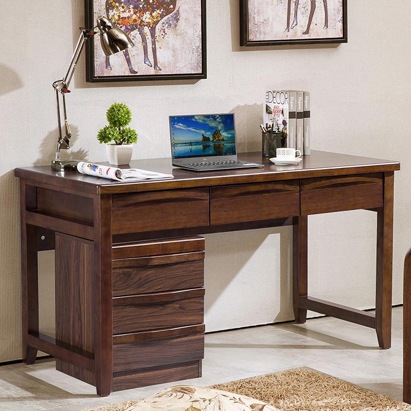 全实木书桌1.2m1.4米电脑桌中式办公桌家用写字台老板桌书房家具
