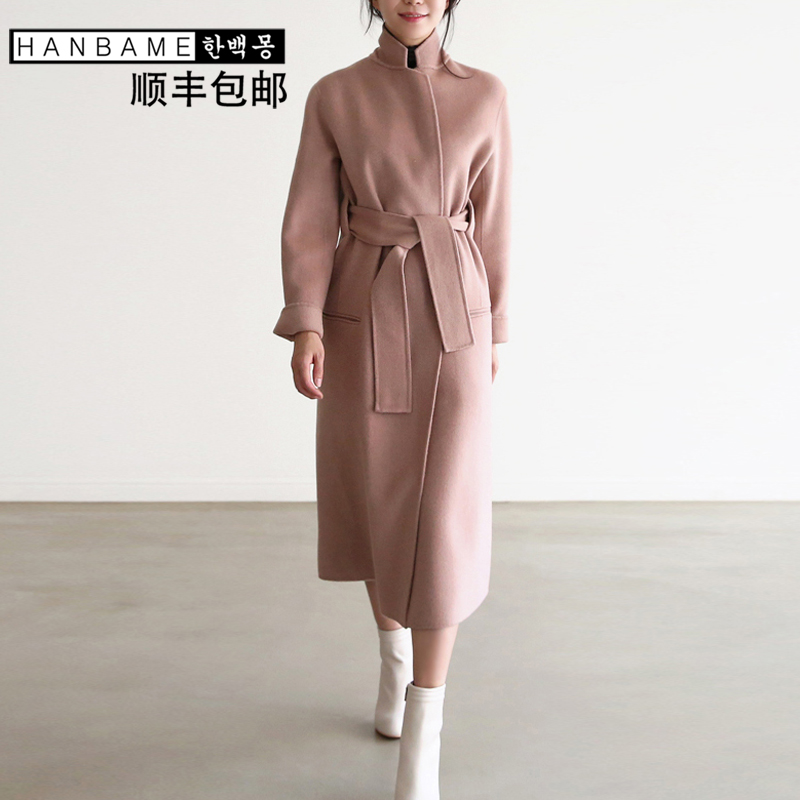 Autumn and winter 2017 Korean version of the new hand sewn double-sided fleece coat waist system brought over the knee long double-sided coat Girl