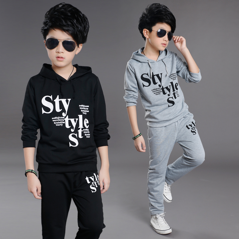 Suit for boys age 2017 new children hooded two sets of children autumn knitting Hoodie 8-12 years old