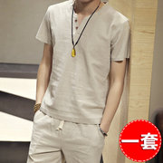 Chinoiserie linen short sleeve t shirt men's retro cotton half sleeve Han ethnic men in mourning clothes summer youth