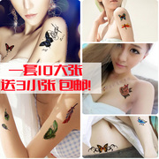 Tattoo stickers waterproof female long lasting fresh sexy Korean chest legs 3D creative simulation tattoo stickers
