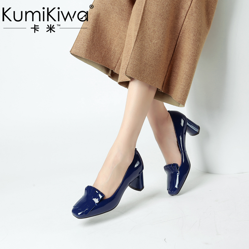 Women's shoe leather cow leather high-heeled summer style coarse small square shallow blue black tassel Loafers