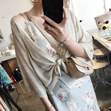 ZOWZOW Mouth Small Chick Knit Cardigan Jacket Women Short Outside Air-Conditioning Sun Protection Shirt Summer Thin Z18088