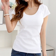 - female short sleeved white T-shirt slim all-match solid color shirt T-shirt simple Korean summer tight cotton half sleeve