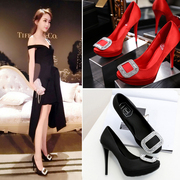 2016 New Europe diamond buckle red high heels with a fine satin waterproof shoes bride wedding shoes
