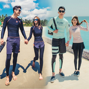 Korean style diving suit, speed dry zipper, sun protection jellyfish clothing, men and women long sleeved swimming suit, surfing clothes, lovers set