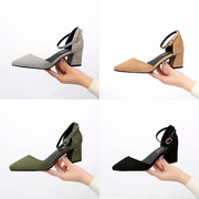 Spring summer sandals with coarse female in Baotou with 5cm single word buckle shoes pointed high-heeled shoes black hollow occupation