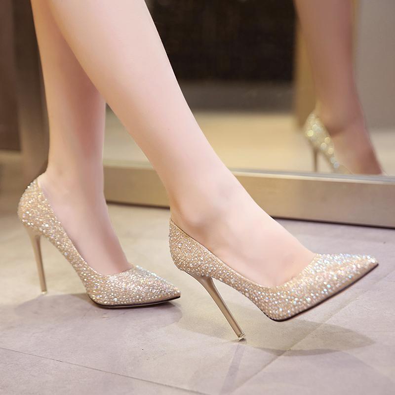 2017秋冬新款高跟鞋女细跟金色尖头婚鞋水晶晚礼服红鞋银色新娘鞋