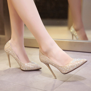 In the autumn of 2017 new female high-heeled shoes with a fine pointed golden wedding shoes crystal evening dress shoes silver bride shoes