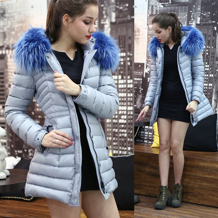 The Chinese emperor tiger demon princess brand down jacket female long large collars fur coat Feather huang