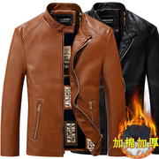 The winter coat young men men's leather jacket and youpi cashmere leather slim Mens Pugh collar thick coat