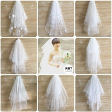 New Bridal veil Korean wedding short paragraph simple bare yarn yarn with hair comb comb multilayer fluffy bridal veil