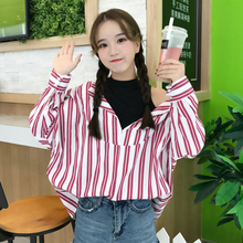 Autumn Korean fashion off two splicing Strapless long sleeved striped shirt loose shirt coat thin female students