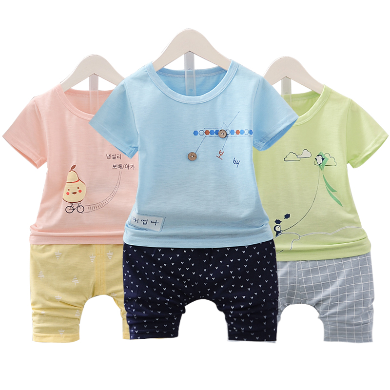 Children's short sleeved suit 2017 new suit boys summer summer wear cotton 1-2-3 year old female baby boom