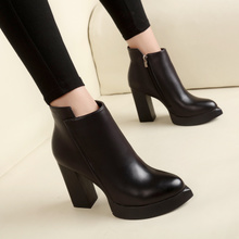 2017 new autumn and winter with thick pointed black heels lady all-match slip boots and shoes boots female nude