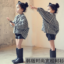 Womens wear Spring clothes Korean version 3 women baby shirt long sleeve Plaid easing 4 small boys 5 shirt 2-7 girl