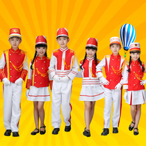 Kindergarten pupils flag clothing childrens flag guard drum corps performing child police costume