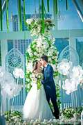Dance props wedding ceremony window decoration stage background set the woman holding a white peony flower dance