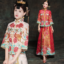 He served 2017 autumn and winter show Bride Wedding Dress Wedding Dress Costume New Chinese cheongsam gown dragon show kimono
