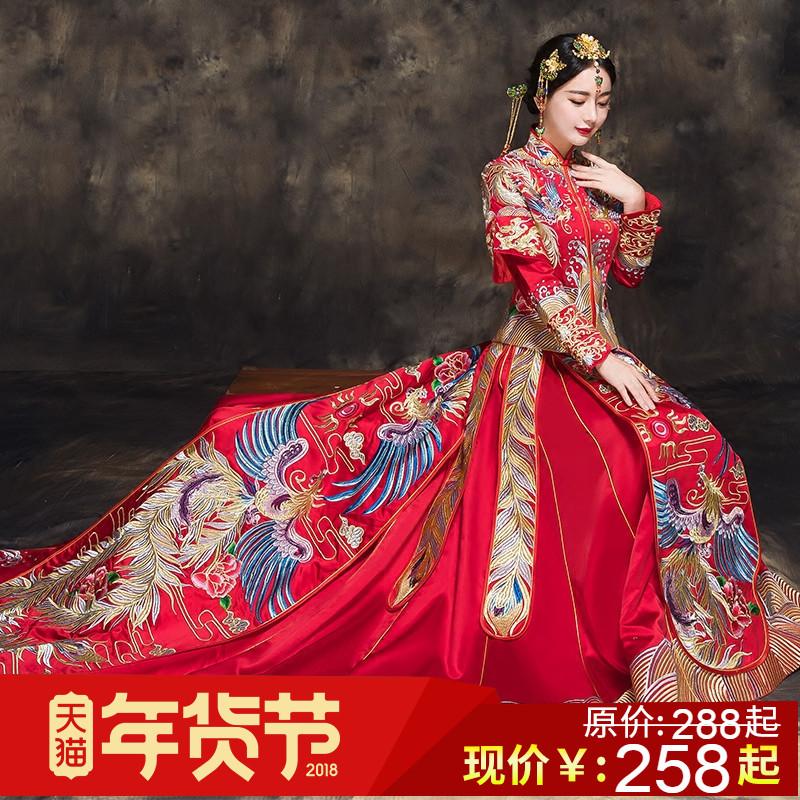 秀禾服龙凤褂新娘2017新款拖尾中式结婚礼服嫁衣旗袍敬酒服秀和服