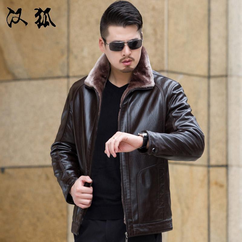 2017冬季皮夹克男装中年PU皮衣男士爸爸秋冬皮毛一体加绒加厚外套