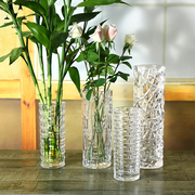 Fuguizhu hydroponic flower vase glass vase vase style living room large thick cylindrical transparent ornaments