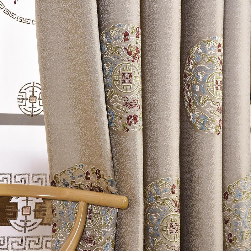 新中式古典大气奢华客厅中式窗帘卧室阳台遮光提花布料成品定制