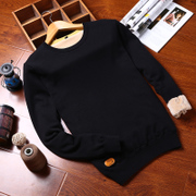 Autumn and winter new sweater men's Korean round neck sweater plus velvet thickening shirt men trend wool jacket