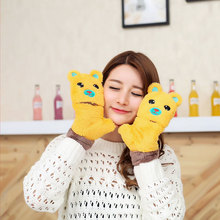 Cute Korean Winter Gloves Half Finger thick warm students refers to all the Japanese cartoon Plush cover in winter