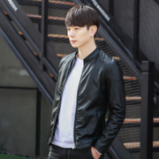 The trend of Korean male fall short slim young men leather motorcycle jacket handsome male personality PU jacket