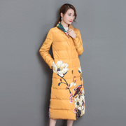 Winter 2017 new European and American art print retro long white duck down coat down jacket women