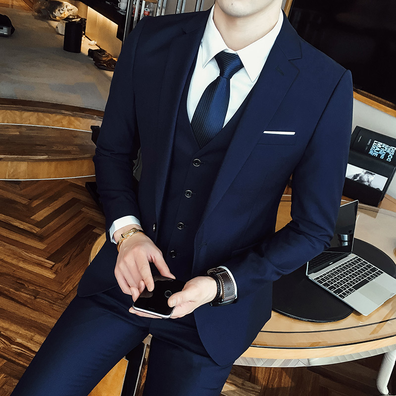 西服套装男三件套韩版修身休闲西装职业商务正装外套新郎结婚礼服