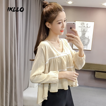 2017 Korean small fresh and sweet layers of lotus leaf edge A cotton long sleeved shirt sweater coat chic female doll