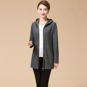 Vipshop middle and old aged women's spring and autumn 40-50 moms hold in the long thin coat plus size autumn break