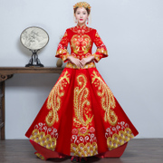 Show 2017 new clothes Wo bride wedding dress wedding gown dragon costume Chinese wedding show kimono dress toast