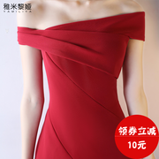2017 new word toast clothing shoulder wedding dress bride dress party slim slim dress summer