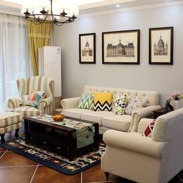 美式布艺沙发 地中海乡村田园风格客厅整装拉扣三人1+2+3组合家具