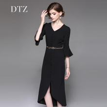 The 2017 new female dress dignified temperament elegant long dress fishtail dress in autumn and winter