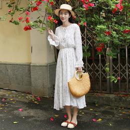 春秋新款清新女装雪纺碎花连衣裙白色长裙女长袖中长款女生裙子夏