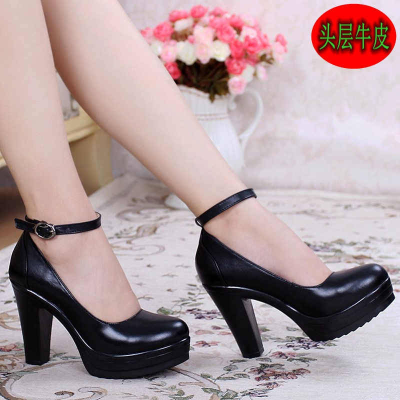 Spring new documentary shoes waterproof leather coarse ultra thick with women's shoes at the end of a word buckle T runway show models of shoes