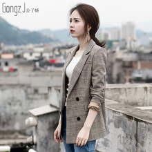 Plaid suit jacket female Korean version 2018 spring loaded new casual thin temperament ladies long sleeve short suit