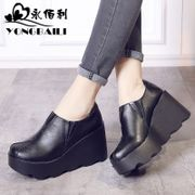 In the spring of 2017 the new permanent Kimberly head layer cowhide shoes thick high-heeled leather shoes comfortable round bottom slope